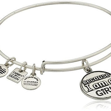 "Alex and Ani Charity by Design ""Because I Am A Girl"" Rafaelian Silver Finish Expandable Bangle Bracelet"