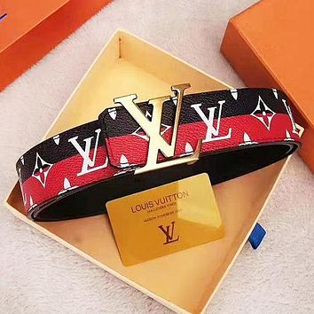 Louis Vuitton LV Fashion New Monogram Contrast Color Leather Women Men Leisure Belt