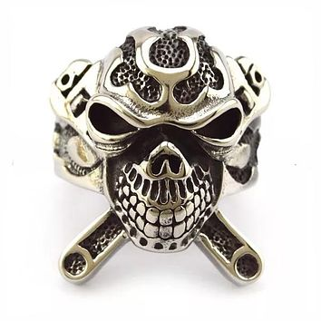 Stainless Steel X Skull Biker Ring