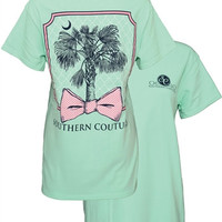 Southern Couture Classic Palmetto Palm Tree Bow  Mint Girlie Bright T-Shirt