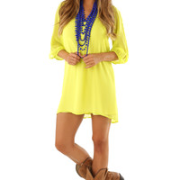 Playing In The Sun Dress: Chartreuse