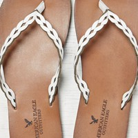 AEO Women's Etched Leather Flip Flop