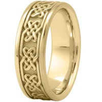 Wedding Band - Celtic Mens Wedding Band in Yellow Gold