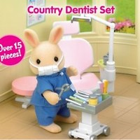 Calico Critters COUNTRY DENTIST PLAY SET ~NEW~