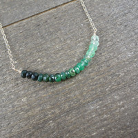 14k gold filled green emerald ombre curve bead bar necklace / bridesmaid / dainty / minimalist necklace / may birthstone necklace