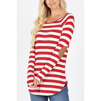 Striped T-Shirt with Suede Elbow Patches (CLEARANCE)