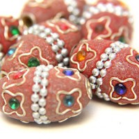 kashmir Tribal Ethnic Beads Brown Resin With Brass Inlay Stars | catfluff - Jewelry Supplies on ArtFire