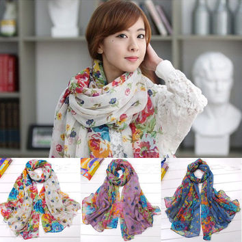Cotton Scarf Women Joker Fields and gardens shivering scarves autumn and winter pashmina shawls and scarves