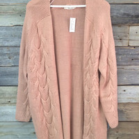 CABLE KNIT CARDIGAN - ROSE