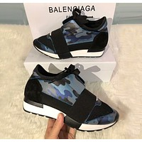 BALENCIAGA Popular Women Men Personality Metal Color Casual Shoes Blue Camouflage/Black I-OMDP-GD
