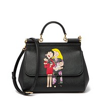 Dolce and Gabbana Womens Black Leather Printed Satchel