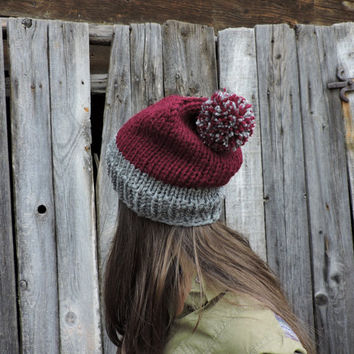 FREE SHIPPING Claret knit hat Slouchy hat Beanie with pom pom Grey Red Hand knit hat Women's men's winter hat Ski hat Unisex bobble hat Oat