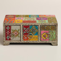 Multicolor Hand-Painted Wood Box - World Market