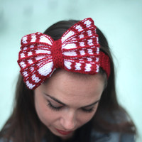 Knit Headband, Hair Bow, Bow Tie, Knitted Headband, Knit Bow, Bow Tie by Solandia on Etsy, red, white, Valentine's gift, Minie Mouse