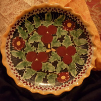 Talavera Mexican Pottery Wall Plate in Vibrant Yellow, Green and Burgundy Colors