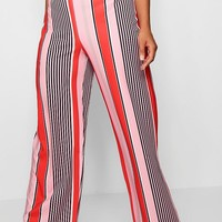 Plus Slinky Stripe Wide Leg Trouser | Boohoo