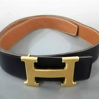 Auth HERMES H Belt Black Brown Leather & Hardware Square G Belt