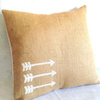 Arrows Burlap Pillow Cover 18 x 18