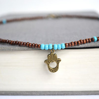 Hamsa Turquoise Necklace. Wooden Beads Turquoise Beaded Necklace. Yoga Inspired Jewelry. Unisex Earthy Necklace