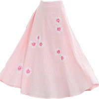 Floral Pink Autumn Skirt 2016 Chinese Style Skirts Plus Size Cusual Women Puppy Skirts Vestidos Maxi Robe Office Long Skirts