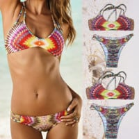 Geometric Multicolor two-piece swimsuit Sexy Women swimwear Bath Swimwear -0417