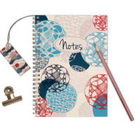 """Personalized Notebook """"Floating Circles"""", Handmade Custom Journal, Spiral Wire Bound, A5 Size, Notepad, Design Note Book"""