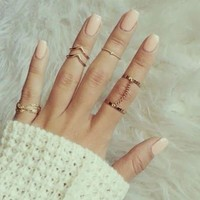 2016 new 6pcs /lot Shiny Punk style Gold plated Stacking midi Finger Knuckle rings Charm Leaf Ring Set for women Jewelry(With Thanksgivin&Christmas Gift Box) [8426491271]