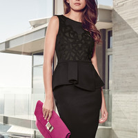 Black Sleeveless Peplum Pencil Dress