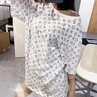 Louis Vuitton LV new full body L printed V loose male cotton tide brand couple T-shirt