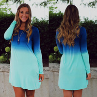 Long  Sleeve Ombre Dip Dye Dress
