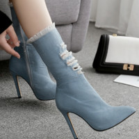 New high-end side zipper skinny heel ripped cowboy boots