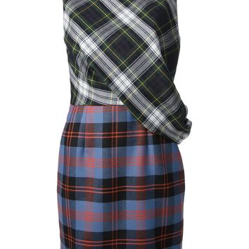McQ By Alexander McQueen draped checked dress