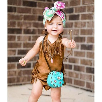 Summer Vintage Infant Baby Girls Sleeveless Halter Tassel Bodysuit Toddlers Clothes for Girls born Jumpsuit Outfits