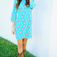 Hooked On Your Love Dress: Blue/Multi