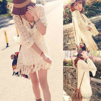 Vintage Hippie Boho Bell Sleeves Gypsy Festival Fringe Sexy Lace Mini Dress Top