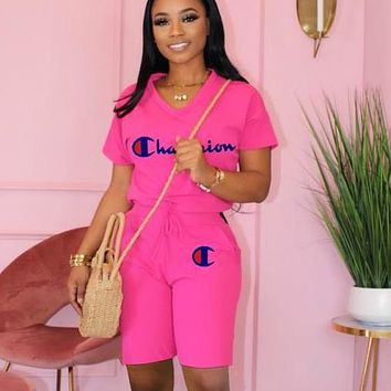 Champion Summer fashion women's casual sports suit Pink
