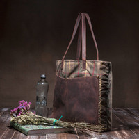 Tartan bag - wax tote bag - women bag - canvas leather - with leather pockets