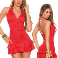 Sexy Red Ruched Mini Dress