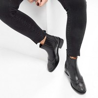 ASOS ALMA Leather Studded Chelsea Boots at asos.com