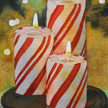 Water Color : Original Peppermint candles watercolor painting. Christmas painting. Peppermint wall art. Christmas decor. Candle picture.