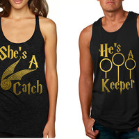 Couple Tank Top She's A Catch He's A Keeper Love Gift