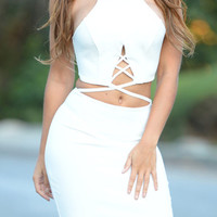 White Strappy Cross Open Belly Bodycon Dress