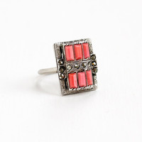 Vintage Art Deco Simulated Coral & Marcasite Ring - Size 4 1/2 1920s 1930s Sterling Silver Pink Glass Filigree Etched Jewelry