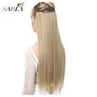 """SARLA 24"""" 60cm Long Straight 3/4 Full Head One Piece Clip In Hair Extensions For Women High Temperature Synthetic Hairpieces 666"""