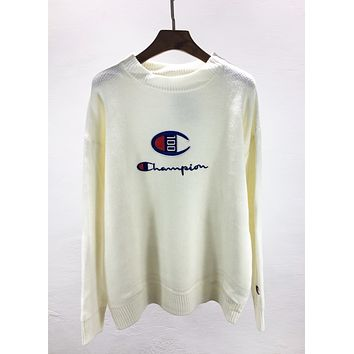 Champion Autumn And Winter Fashion New Embroidery Letter Women Men Long Sleeve Top Sweater White