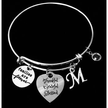 Thankful Grateful Blessed Expandable Charm Bracelet Adjustable Silver Stackable Bangle Trendy One Size Fits All Gift
