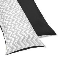 Sweet JoJo Designs Black and Grey Zig Zag Full Length Double Zippered Body Pillow Case Cover | Overstock.com