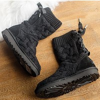 UGG female fashion wool snow boots wool shoes Black-1