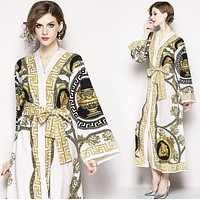 Versace Autumn Trending Women Stylish Temperament Print Long Sleeve V Collar Shirt Lapel Dress White