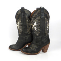 Butterfly Cowboy Boots Vintage 1980s Miss Capezio Leather Inlay Women's size 5 1/2